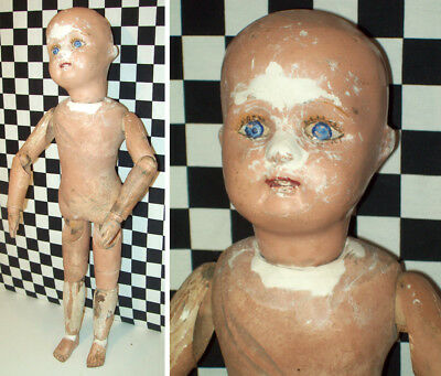"""22""""Antique Schoenhut Doll that Needs Repair to Finish, Joints Good Label on Back"""