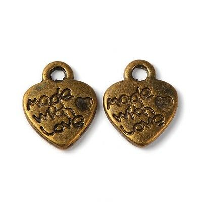 10 Heart Charms Antique Bronze Tone Twisted 2 Sided BC1037