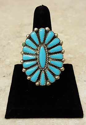 Nice Very Large Vintage Silver Petit Point Turquoise Native American Indian Ring