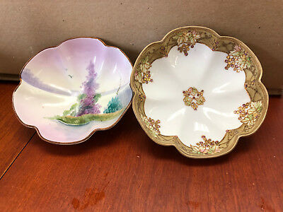 A Pair of Antique Footed Bowls - Nippon - Hand-painted