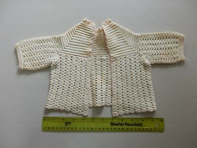 Vintage 1950's Baby Sweater - Ivory with Pink Trim - Crochet - Very Cute - Used