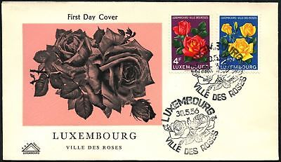 Luxembourg 1956 Flowers Roses FDC First Day Cover #C45062