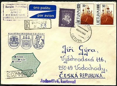 Lithuania 1994 Registered Cover To Czech Republic #C45047