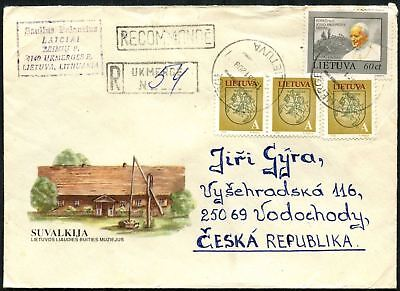 Lithuania 1993 Registered Cover To Czech Republic #C45054