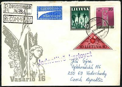 Lithuania 1994 Registered Cover To Czech Republic #C45049