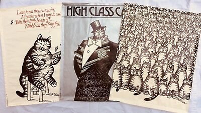 Vintage 70's B KLIBAN,Lot 3 Cat Posters,Millions,High Class,Eat Mousies,23 x 18""