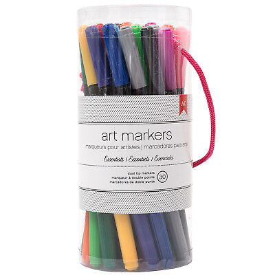 American Crafts Double-Tipped Art Markers Pack - Assorted Colors, 30 Piece Set