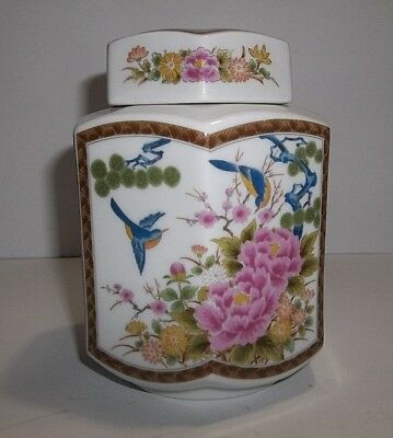 Vintage Japanese Porcelain TEA CADDY Blue Birds Pink Flowers