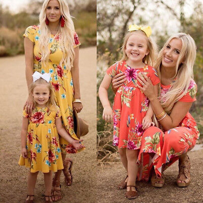Family Matching Mother & Daughter Dresses Girls Daughter Outfits Clothes Dress