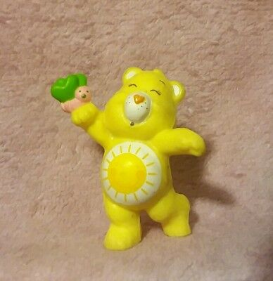 Vintage Care Bears - Funshine Bear with Butterfly PVC Figure - 1983 AGC
