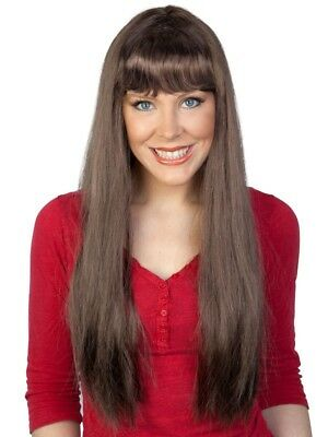 Kath Long Brown Brunette Wig with Fringe From Kath and Kim Costume Wig