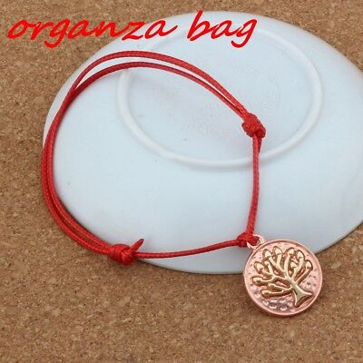 3pcs Rose gold Tree of Life charm Red Pure hand-woven Adjustable Bracelet