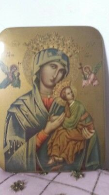 Beautiful Vintage Russian Orthodox Icon Picture of Mary & the Baby Jesus