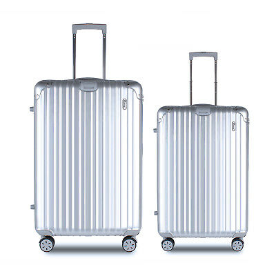 "19"" / 26"" ABS+PC+Aluminum Luggage Travel Set Suitcase- Black,Silver,Purple USA"