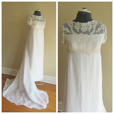 Vintage 1960s Short Sleeve Lace Wedding Dress + Headdress Priscilla of Boston XS