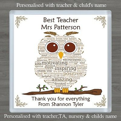 Personalised Thank You Gift Teacher TA Word Art Owl Drinks Coaster or Magnet