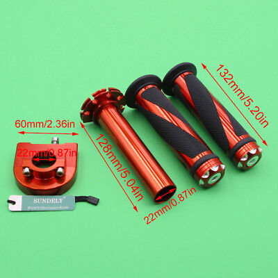 "Motorcycle Dirt Bike Scooter 7/8""Orange CNC Hand Grips Throttle Twist Tube Lever"