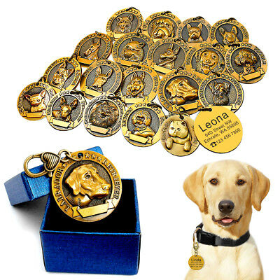 Dog Tag Engraved 3D Personalised Pet Name ID Collar Tag with 18 Breeds Labrador