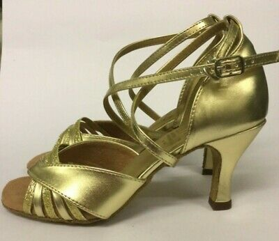 "Strictly Style RV Gold / Glitter Ballroom/Latin Shoes - Sz 3.5 or 4.5- 2.5"" heel"