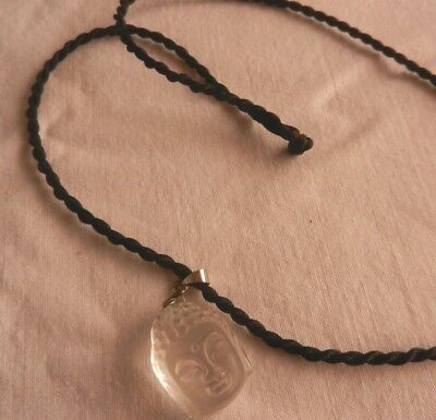 Necklace Buddha Head Clear Glass Perspex Carved Pendant On Twisted Cord