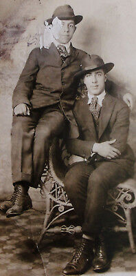 Vintage Rppc Real Photo Postcard Of 2 Goofy Looking Young Guys As Is As Found