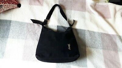 yves saint laurent YSL black velvet look bag shoulder