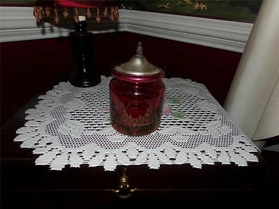 Ruby To Clear Etched Vntg. Condiment Jar W/ Sterling Lid Pineapple Topper