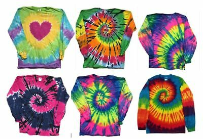 Long Sleeve Tye Dye T Shirts  Tie Dye Multi Color Assorted colors  SHIPS FAST