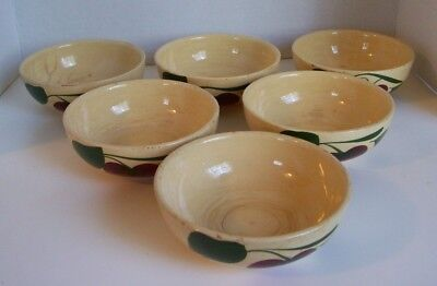 "Vintage~Apple~Watt Pottery 5 1/2"" Soup/desert Bowls ~set of 6~Oven Ware #74"