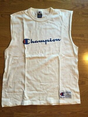 bc6a191f86aa25 Vintage Champion Sleeveless T Shirt Tank Top Jersey Large Logo Spell Out Sz  L