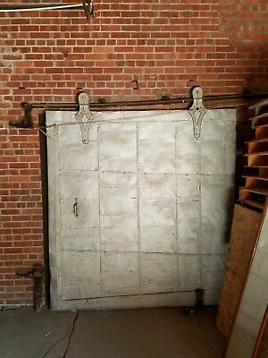 Gorgeous Salvaged Sliding Fire Door and all hardware, Antique Industrial Rustic