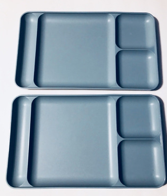 Tupperware Divided Dining Trays 1535 4 Country Blue Rare Set Of Two Brand