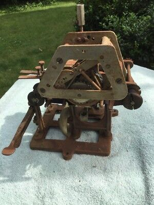 Huge Antique Clock Movement With Date Time Stamp For Recorder w Cast Iron Base
