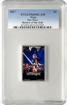 2017 $2 Niue Star Wars Return of the Jedi 1oz 999 Silver Coin PCGS PR69DCAM
