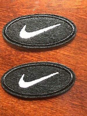 """(2)  Nike Black iron on PATCH -  patches new  Appx  2"""" X  1"""" Oval black"""