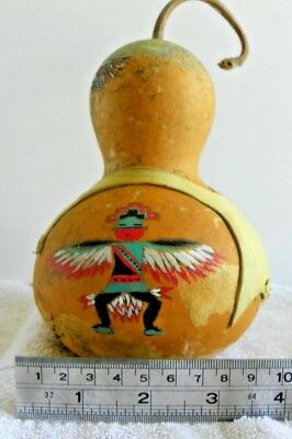 Native American Gourd Rattle Signed Authentic Hand Painted