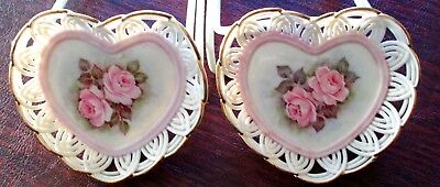 A Set of Hand Painted Porcelain Heart Dishes By Artist Lillian Stratton