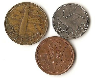Lot of three coins from Barbados, 1, 5, and 10 cents, seagull, lighthouse