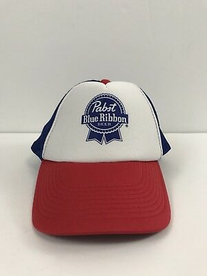 Retro PBR TRUCKER HAT Pabst Blue Ribbon Beer Cap Snapback Mesh Baseball