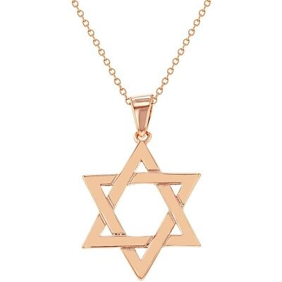 """Rose Gold Plated Religious Jewish Star Of David Pendant Necklace 18"""""""