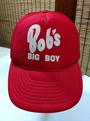 Vintage BOB'S BIG BOY SNAPBACK Hat Mesh TRUCKER Baseball Cap Foam Front Red