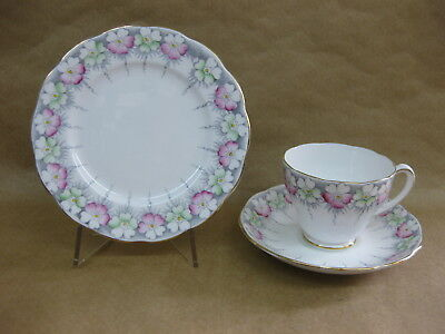 """Pretty Vintage English China Trio ~ """"Sydney"""" Roslyn China ~ Cup, Saucer & Plate"""