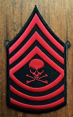 SERGEANT SKULL embroidered sew on / iron on Patch Zombie Apocalypse red