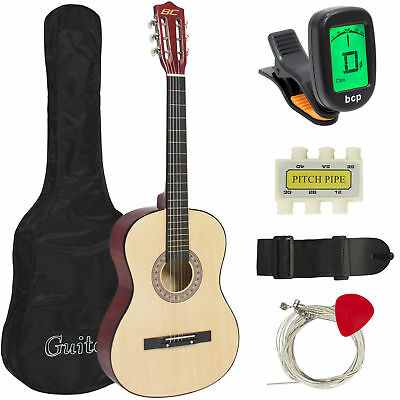 Beginners 38'' Acoustic Guitar w/ Case, Strap, Digital E-Tuner, & Pick (Natural)