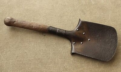 German WWII Original Relic Soldiers Small Trench Shovel / Spaten - Battle Damage