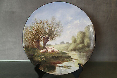 Painting dish 19e signed earthenware landscape rural painted countryside