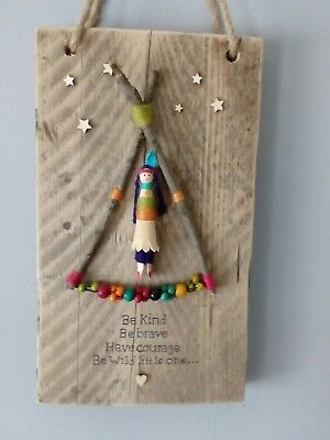 Rustic Wooden  teepee be brave little girls Wall Plaque Sign  gift room decor