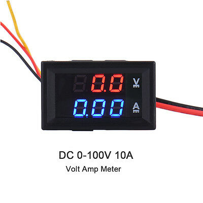 DC 100V 10A Voltmeter Ammeter Blue&Red LED Amp Dual Digital Volt Meter Gauge UK