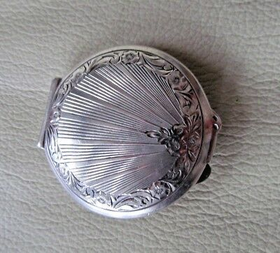 Art Deco Engraved 825 Silver Powder Compact with Mirror