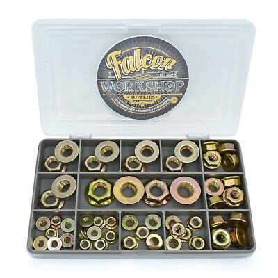 54 Assorted Piece Flanged Nuts High Tensile Yellow Zinc M5 M6 M8 M10 M12 Nut Kit